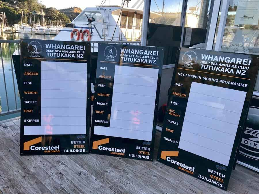 Catch/weigh boards at Whangarei Deep Sea Anglers Club Tutukaka